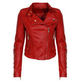 Red Leather Look Biker Jacket